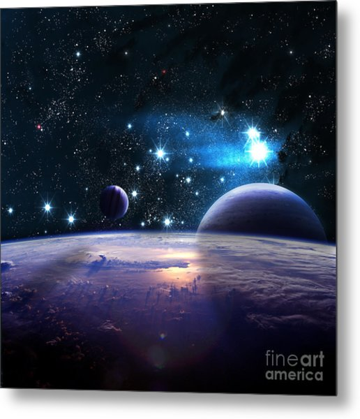 Planets Over The Nebulae In Space Metal Print