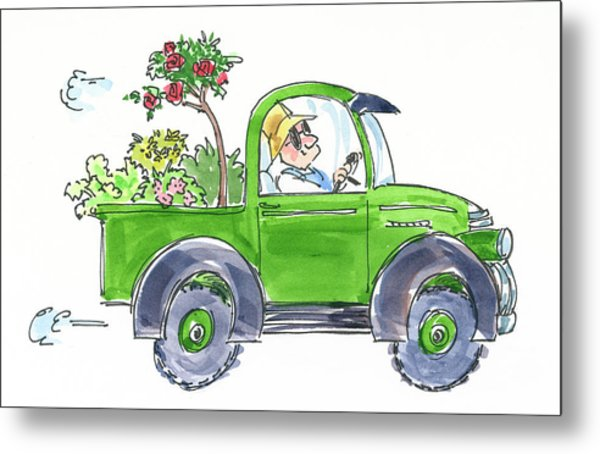 Plant Delivery Metal Print