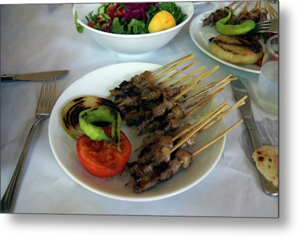 Plate Of Kebabs And Salad For Lunch Metal Print