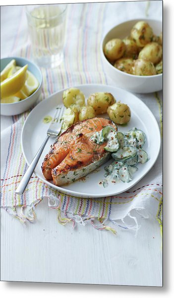 Plate Of Salmon, Potatoes And Salad Metal Print by Cultura Rm Exclusive/brett Stevens