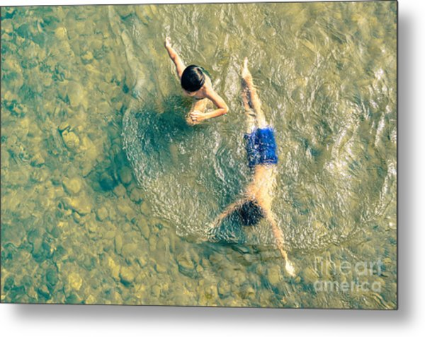 Playful Children Swimming In Nam Song Metal Print