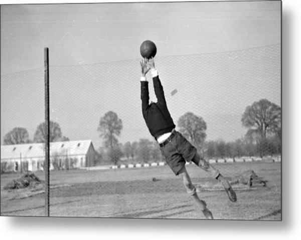 Playing In Goal Metal Print