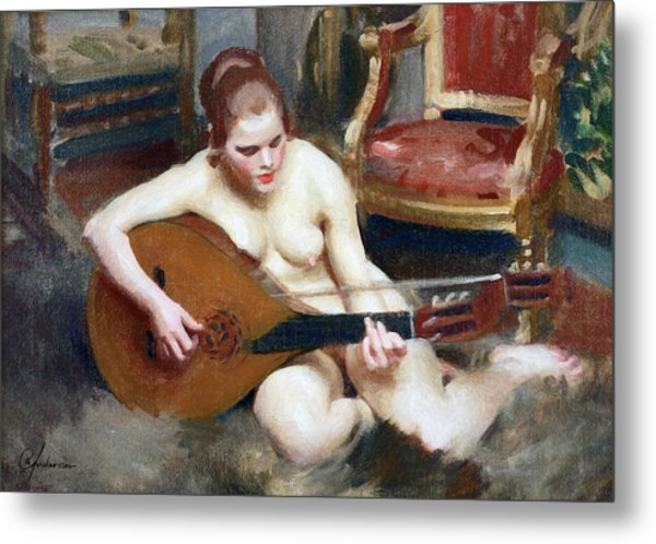 Playing On The Lute Metal Print