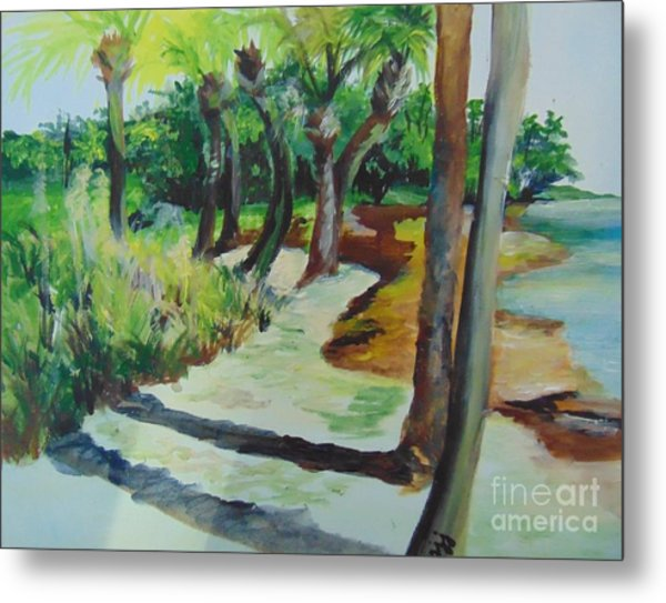Metal Print featuring the painting Plen Aire Palms by Saundra Johnson