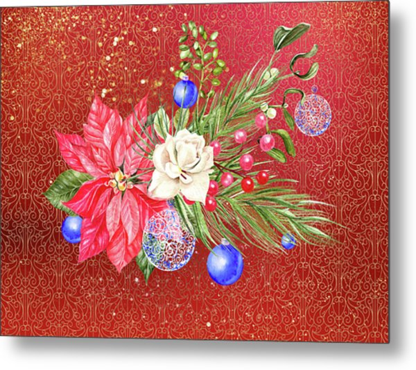 Poinsettia With Blue Ornaments  Metal Print