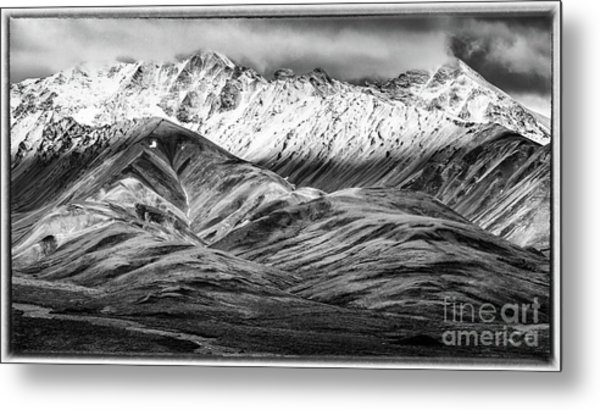 Polychrome Mountain, Denali National Park, Alaska, Bw Metal Print