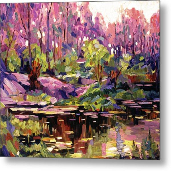 Pond At Sunset - Plein Aire Metal Print