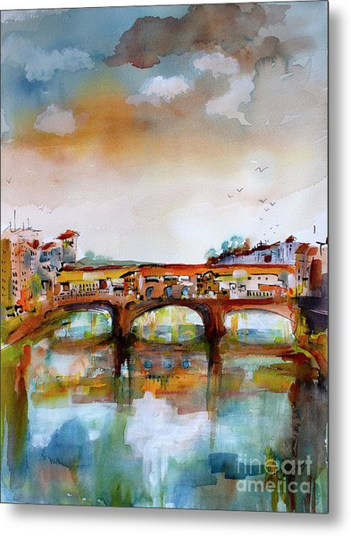 Metal Print featuring the painting Ponte Vecchio Florence Italy Watercolors by Ginette Callaway