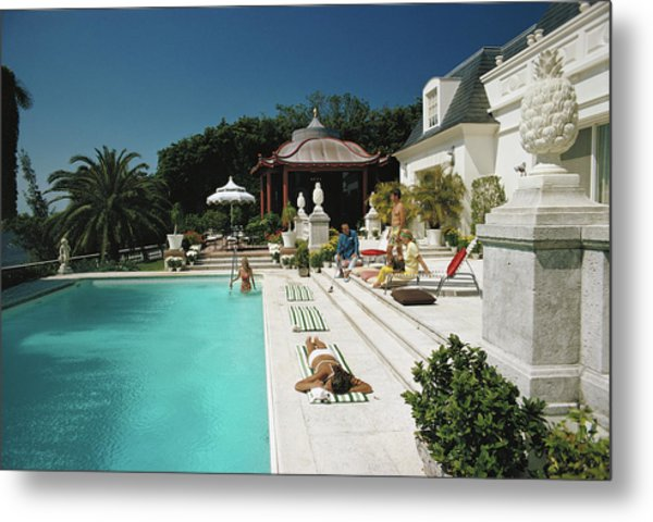 Poolside Chez Holder Metal Print