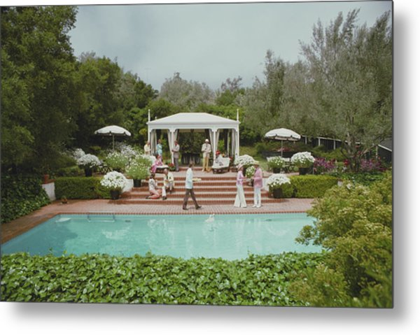 Poolside Drinks Metal Print