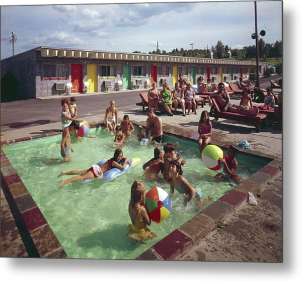 Poolside Fun At Arca Manor Metal Print by Aladdin Color Inc