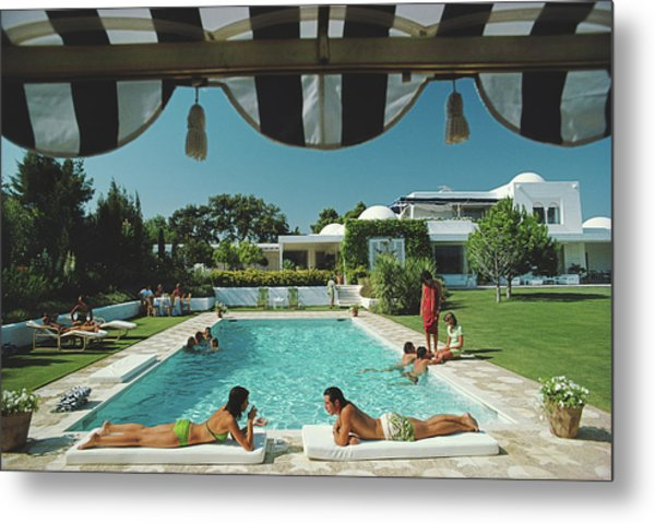 Poolside In Sotogrande Metal Print by Slim Aarons