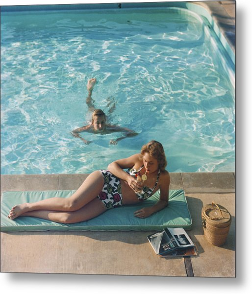 Poolside On Shelter Island Metal Print by Slim Aarons