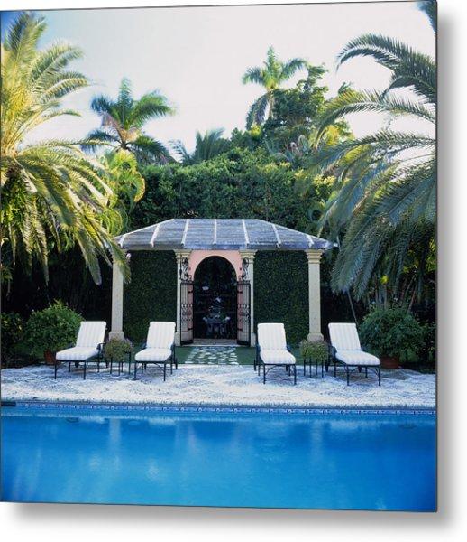 Poolside, Palm Beach, Florida, Usa Metal Print