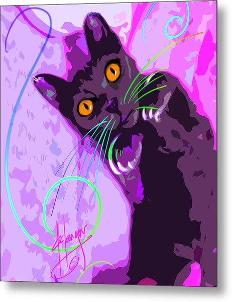 Pop Cat Angel Metal Print