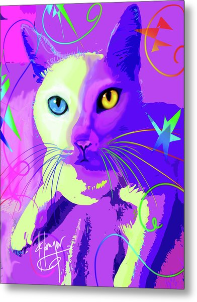 pOp Cat Cotton Metal Print