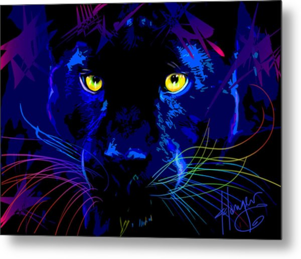 pOpCat Black Panther Metal Print