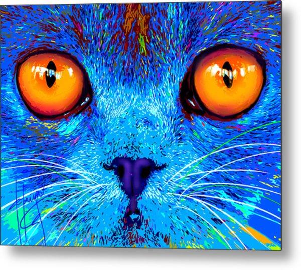 pOpCat Boe - Big Orange Eyes Metal Print