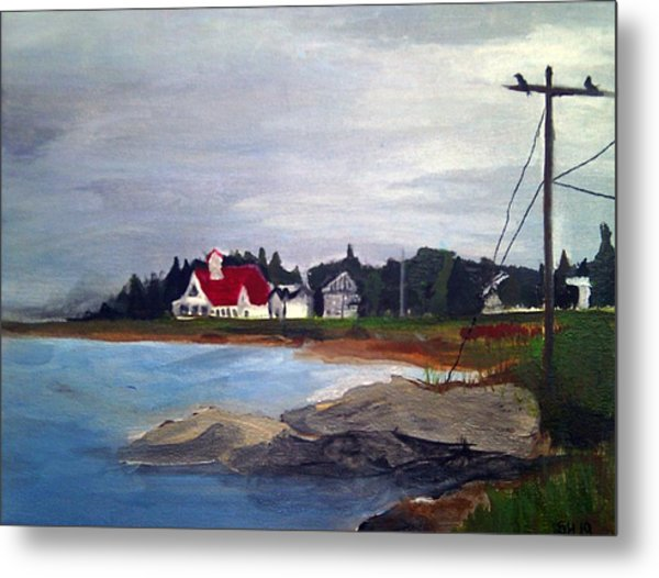 Metal Print featuring the painting Popham Beach, Maine by Samantha Galactica