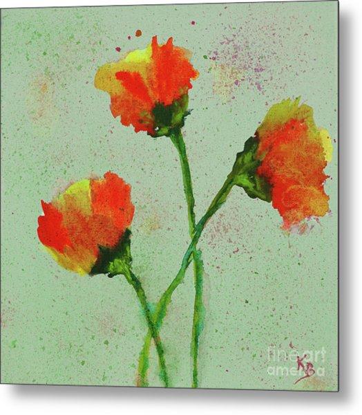 Metal Print featuring the painting Poppies by Karen Fleschler
