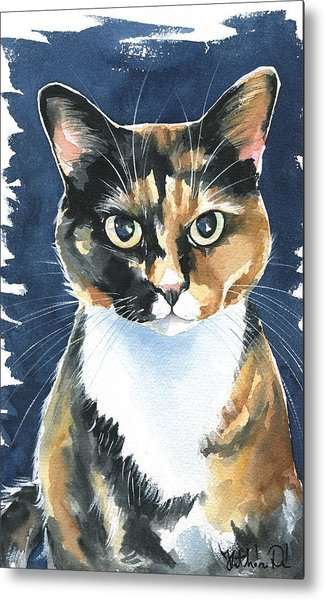 Poppy Calico Cat Painting Metal Print