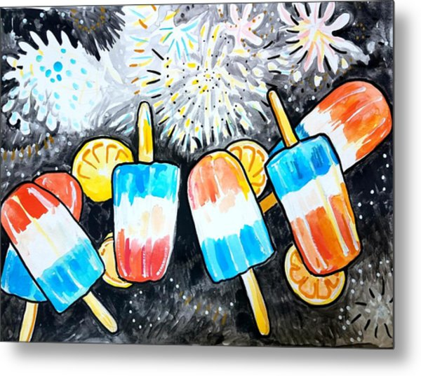 Popsicles And Fireworks Metal Print