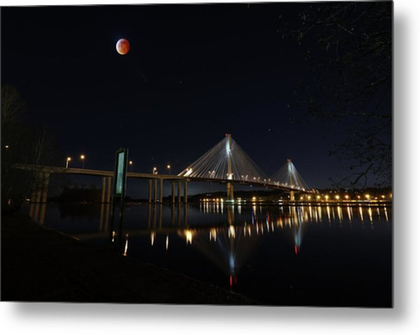 Port Mann Bridge With Blood Moon Metal Print