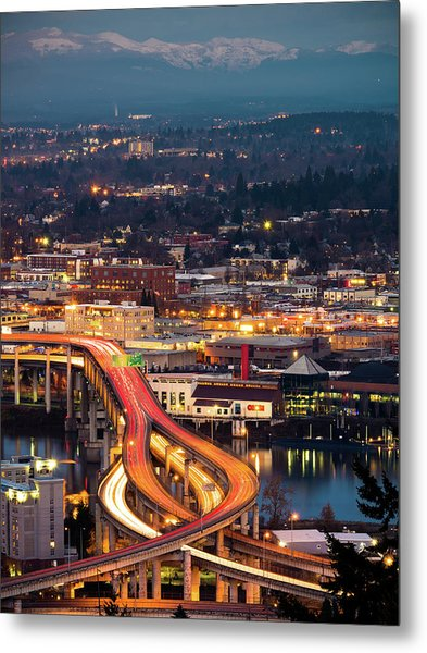 Metal Print featuring the photograph Portland At Night by Nicole Young