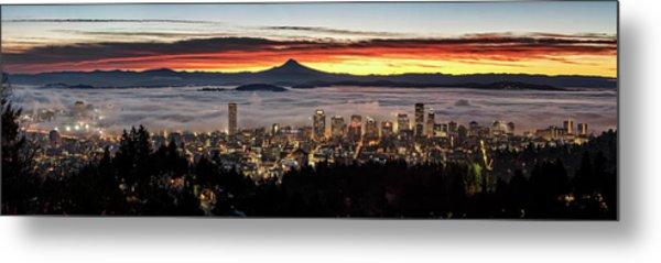 Portland Foggy Sunrise Metal Print