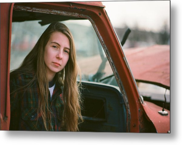 Portrait In A Truck Metal Print