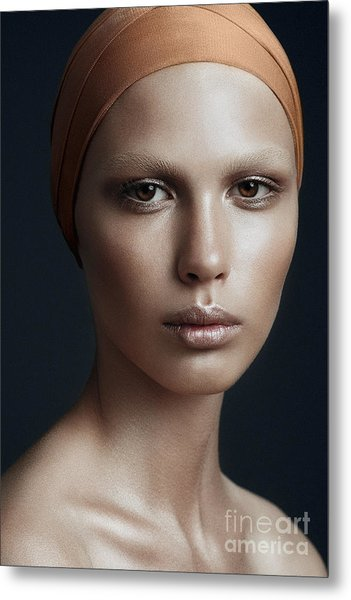 Portrait Of A Beautiful Girl With A Metal Print by Yuliya Yafimik