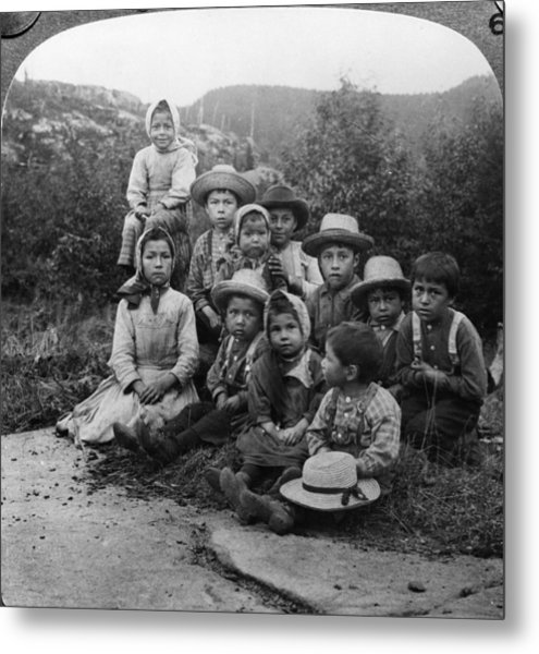 Portrait Of Children From Indian Tribe Metal Print by Kean Collection