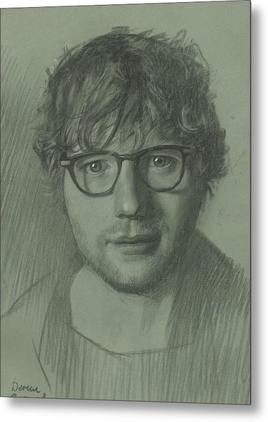 Metal Print featuring the drawing Portrait Of Ed Sheeran by Denis Chernov