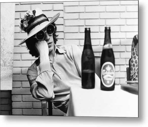 Portrait Of Mick Jagger With A Sun Hat Metal Print by Keystone-france