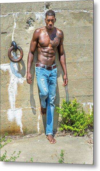 Portrait Of  Young Black Fitness Guy Metal Print