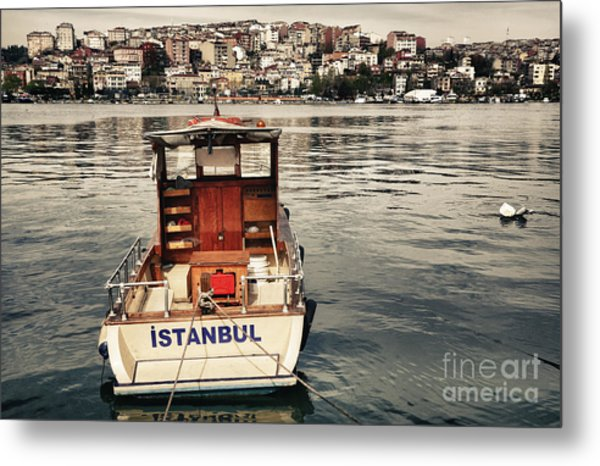 Postcard From Istanbul. Motor Boat By Metal Print