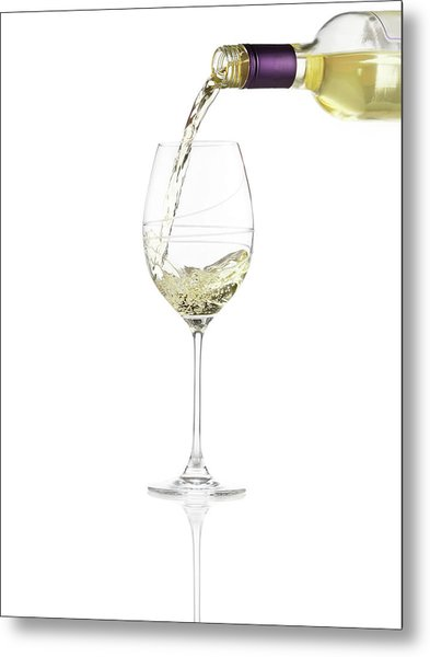 Pouring A Glass Of White Wine Metal Print