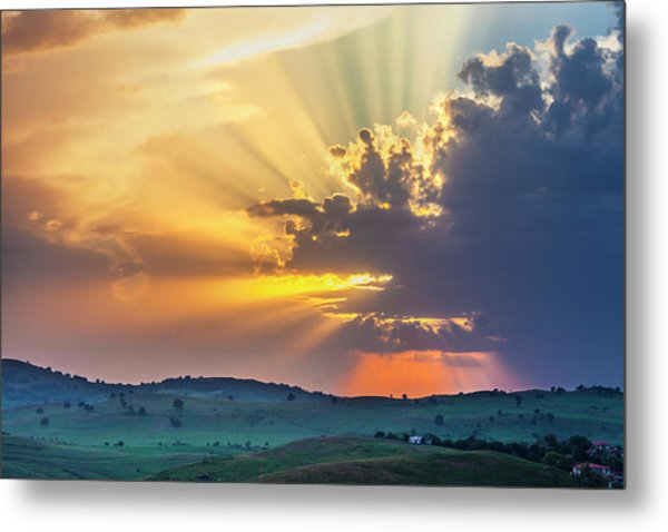 Powerful Sunbeams Metal Print