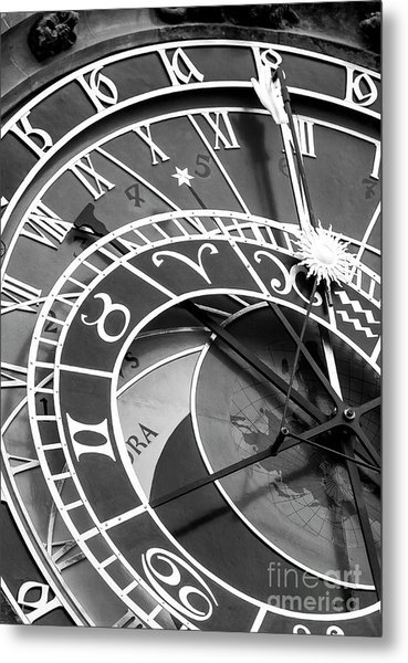 Prague Astronomical Clock In Old Town Square Metal Print