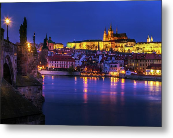 Prague Sparkling At Twilight Metal Print