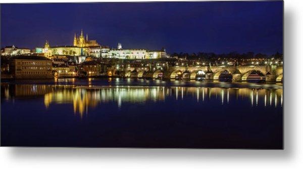 Prague Twilight Panorama Metal Print