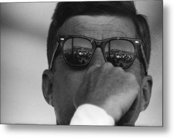 President Kennedy At San Luis Dam Metal Print by Michael Ochs Archives