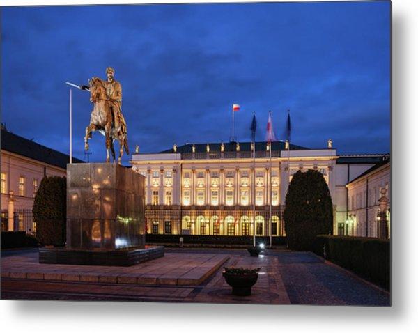 Presidential Palace In Warsaw At Night Metal Print