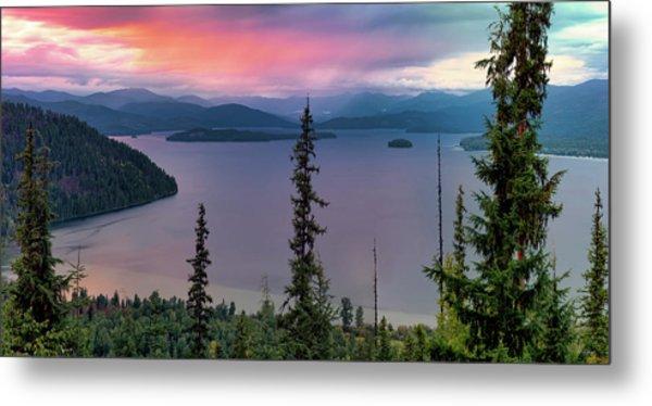 Priest Lake Sunset View Metal Print by Leland D Howard