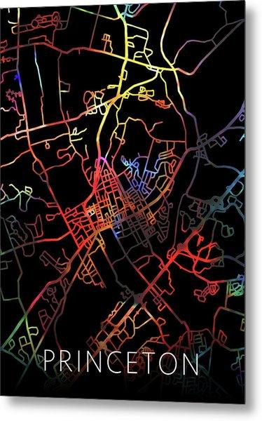 Princeton New Jersey Watercolor City Street Map Dark Mode Metal Print