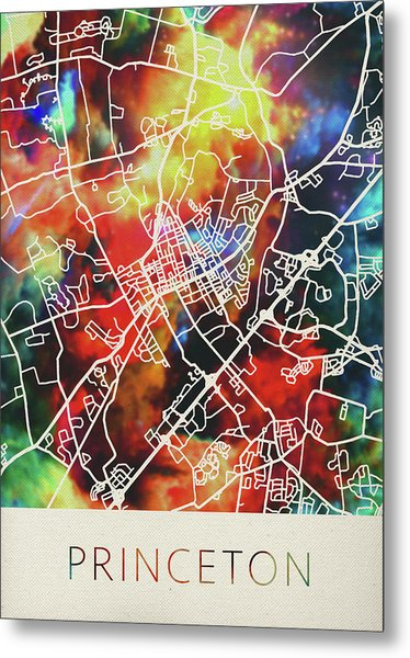 Princeton New Jersey Watercolor City Street Map Metal Print