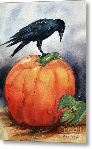 Pumpkin And Crow Metal Print