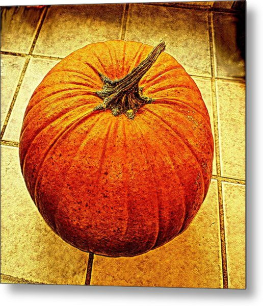 Pumpkin On Tile Metal Print by Keith Cassatt