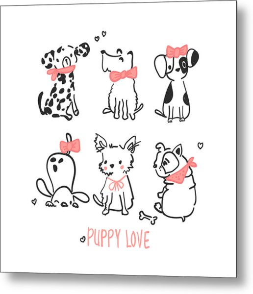 Puppy Love - Baby Room Nursery Art Poster Print Metal Print