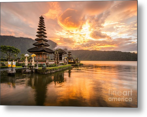 Pura Ulun Danu Bratan, Hindu Temple On Metal Print